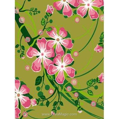 Kit canevas pour débutant Luc Création fleurs rose en vert