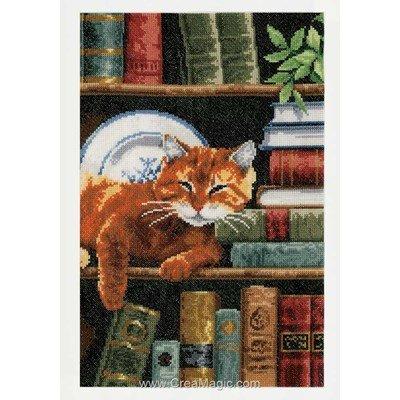 Kit broderie Vervaco chat sur étagère de bibliothéque