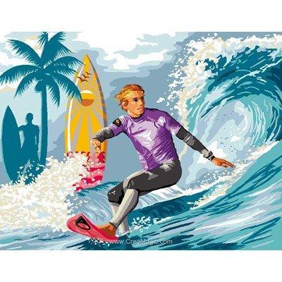 Surfeur canevas chez Luc Création