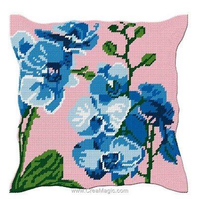 Coussin demi point orchidées bleues - Luc Création