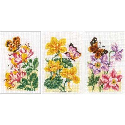 Fleurs et papillons - lot 3 mini kit Vervaco à broder