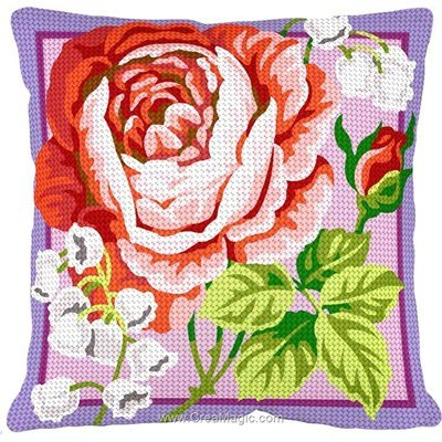 Kit coussin Margot au demi point rose et muguets