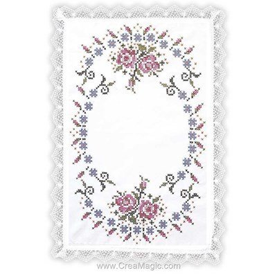 Napperon roses impériales à broder au point de croix imprimé - Margot Broderie MRO-NPR9076