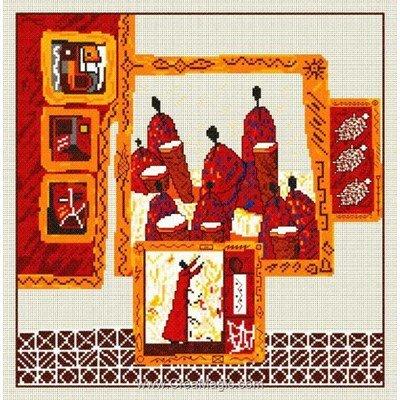 Broderie modele point de croix les tambours de brazza - toile lin d'Anagram