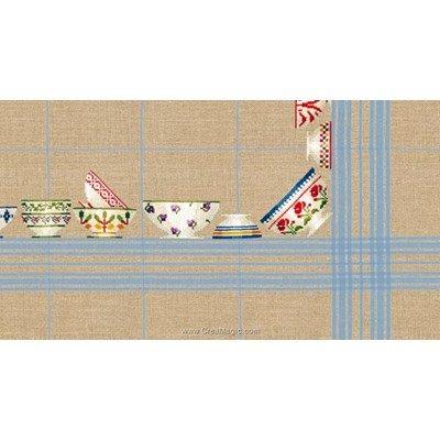 Kit nappe Le Bonheur Des Dames bols à carreaux ciel 180x180 à broder au point de croix