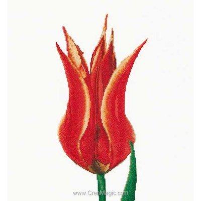 Modèle broderie point de croix red/yellow lily flowering tulip sur lin - Thea Gouverneur