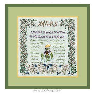 Tableau point de croix saison : le mois de mars - Le Bonheur Des Dames