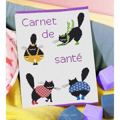 Kit protège carnet de santé pour bébé Princesse à broder cats en couleur