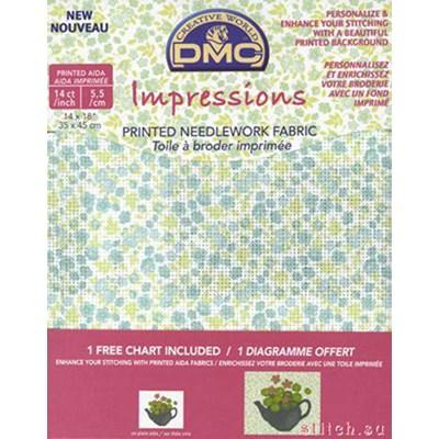 Toile aida 5,5 flower imprimée - turquoise à broder - DMC