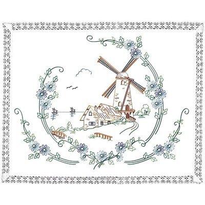 Kit napperon en broderie traditionnelle le moulin - Luc Création