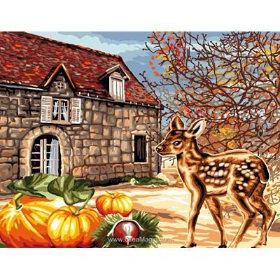 Maison en automne canevas de Luc Création