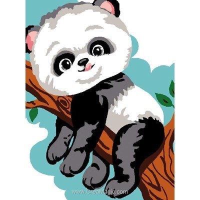 Kit canevas avec fils panda dans l'arbre - Luc Création