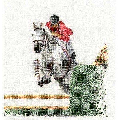 Kit à broder au point de croix equitation sur lin - Thea Gouverneur