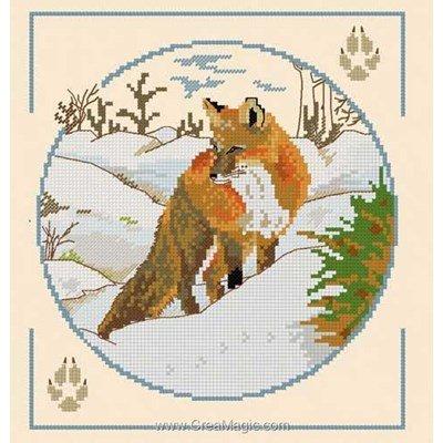 Point croix d'Aux 4 Points Du Monde à broder renard en hiver