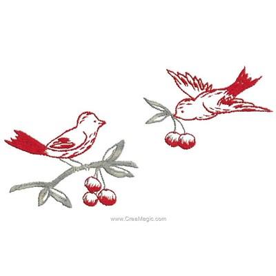 Kit de broderie imprimée les deux oiseaux et les cerises d'Au Fil De L'Ange
