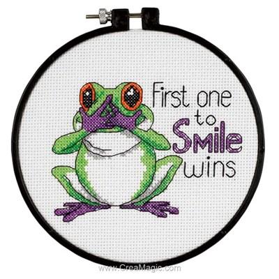 Modèle au point de croix les premier qui rira - grenouille - Dimensions