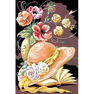 Le chapeau et le livre fleuris canevas de SEG
