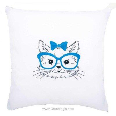Coussin Vervaco chat avec des lunettes à broder en broderie traditionnelle