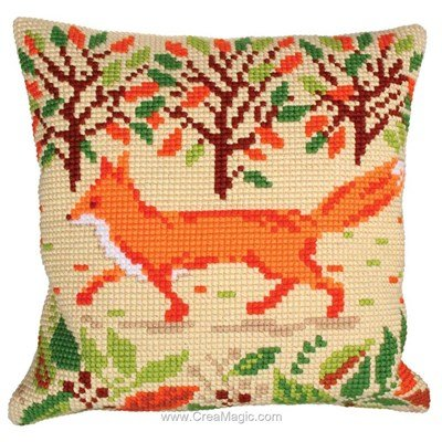 Kit coussin renard en ballade de Collection d'art au point de croix