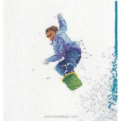 Snowboard sur lin kit au point de croix compté - Thea Gouverneur