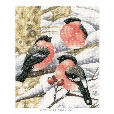 Kit broderie pinsons sous la neige - Lanarte