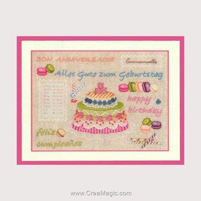 Tableau broderie point de croix Le Bonheur Des Dames gâteau anniversaire