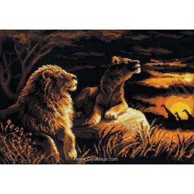 Broderie RIOLIS les lions dans la savane