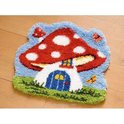 Kit tapis point noué Vervaco ma maison champignon