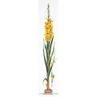 Broderie au point de croix gladioli yellow sur lin de Thea Gouverneur
