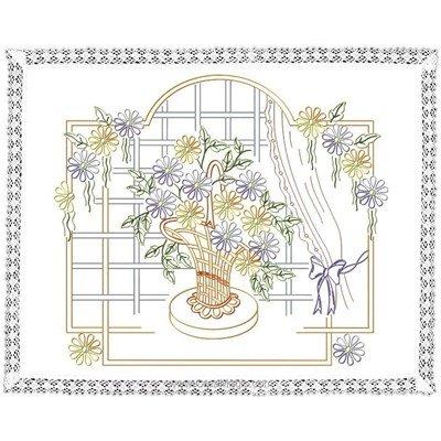 Kit napperon en broderie traditionnelle le pot à la fenêtre Luc Création