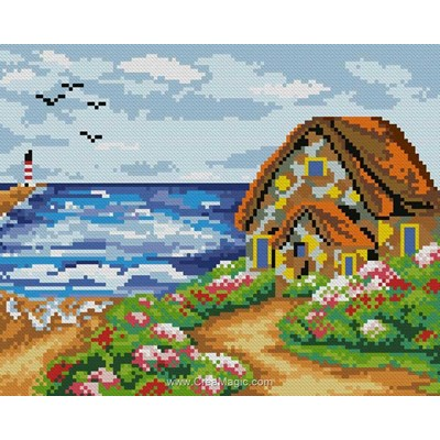 Broderie diamant house near the sea de Diamond Painting