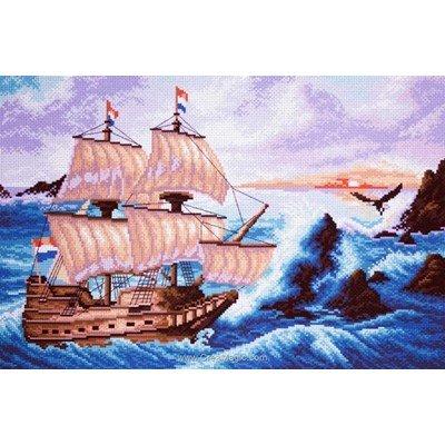 Broderie imprimée l'ile des navires perdus sur aida de Collection d'art