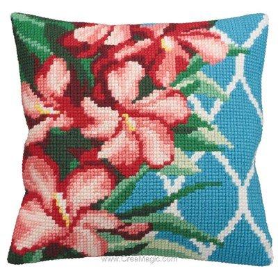 Kit coussin Collection d'art hibiscus au point de croix