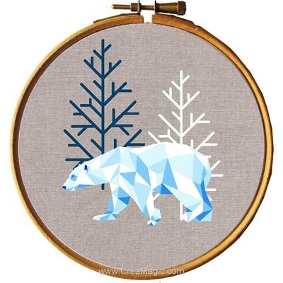 Broderie imprimée en kit Princesse ours blanc