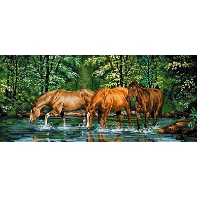 La clairière aux chevaux canevas - Luc Création