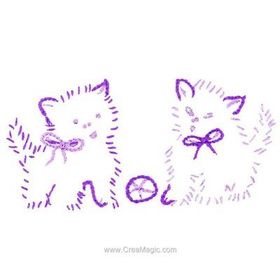 Kit de broderie imprimée deux chats violet - Au Fil De L'Ange
