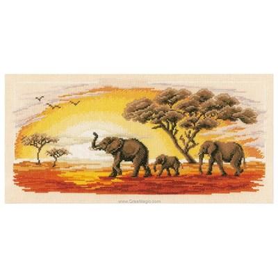 Kit à broder au point de croix la marche des éléphants d'afrique - Vervaco