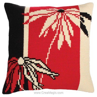 Kit coussin point de croix rouge et noir - Collection d'art