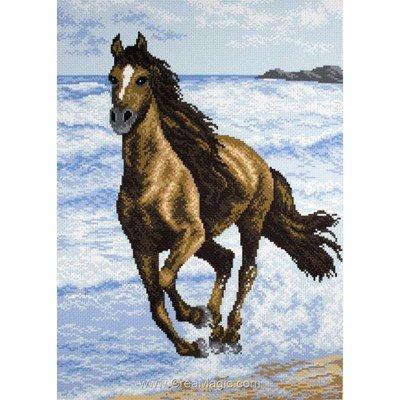 Kit broderie imprimée aida Collection d'art etalon stallion