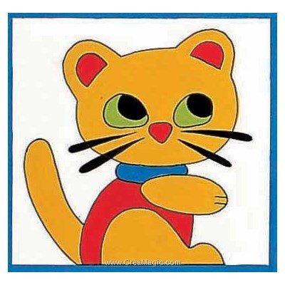 Kit canevas pour enfants dessin de minou - Margot