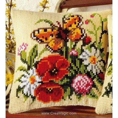 Kit coussin point de croix papillon et fleurs des champs - Vervaco