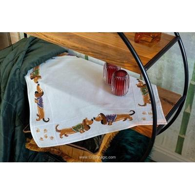 Nappe en kit Vervaco teckels à broder au point de croix compté