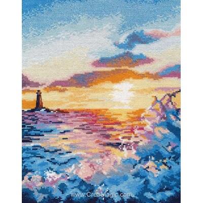 Coucher de soleil sur la mer modèle au point de croix - Oven