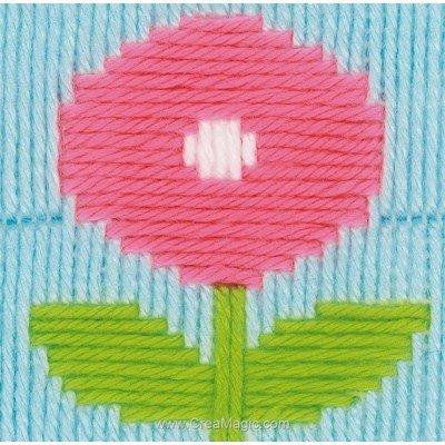Canevas point lance fleur rose vert - Vervaco