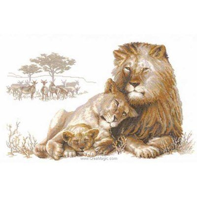 Modèle RIOLIS au point de croix lions en famille