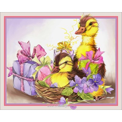 Kit broderie diamant Diamond Painting fluffy ducks