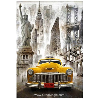 Kit broderie diamant new york taxi moderne - Wizardi