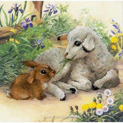 Kit à broder au point de croix l'agneau et le lapin - RIOLIS