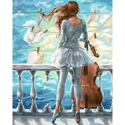 Kit broderie diamant la danseuse au violon - Diamond Painting