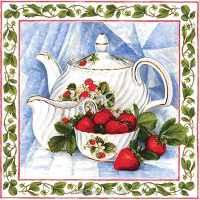 Broderie diamant tea with strawberries de Diamond Painting